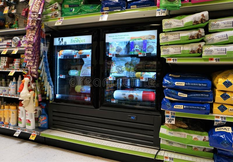 Freshpet refridgerated pet food in supermarket stock image