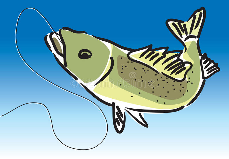 Freshwater fish. With hook and line royalty free illustration