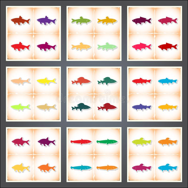 Freshwater fish. A set of flat stickers with shadow on old paper. Vector illustration royalty free illustration