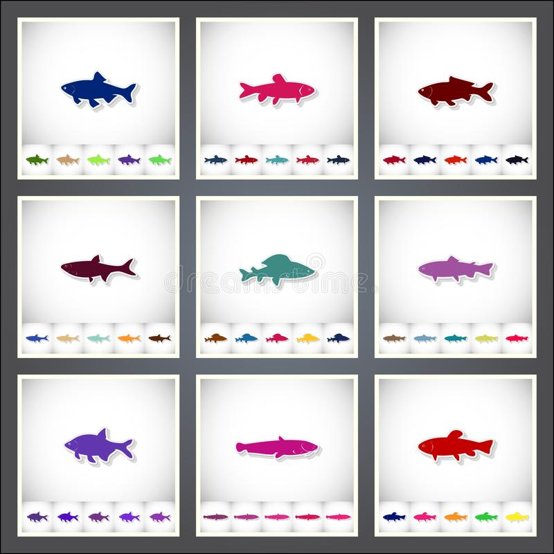 Freshwater fish. A set of flat stickers with shadow on white background. Vector illustration royalty free illustration