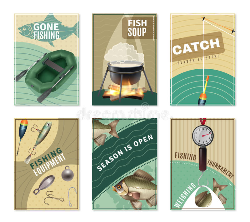 Freshwater Fishing 6 Posters Prints Collection. Freshwater fishing 6 mini posters collection with fisherman equipment pictures tactics tips and free recipes stock illustration