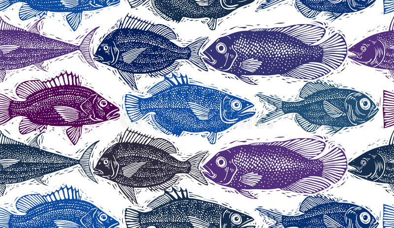 Freshwater vector fish endless pattern, art nature and marine th. Eme seamless tiling. Seafood wallpaper, zoology idea background royalty free illustration