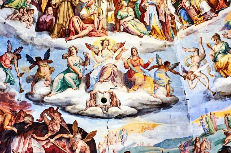 Fresk malował Giorgio Vasari w kopule katedra Florencja, Włochy obraz stock