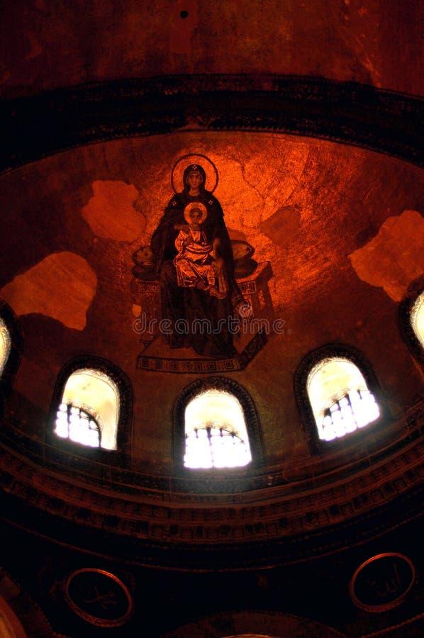 Fresk maryja dziewica i Jezus, wnętrze Hagia Sophia obraz stock