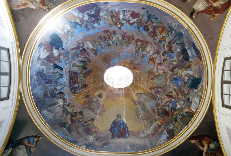 Fresk na suficie Świątobliwy Philip Neri kościół, Complesso Di San Firenze w Florencja fotografia royalty free
