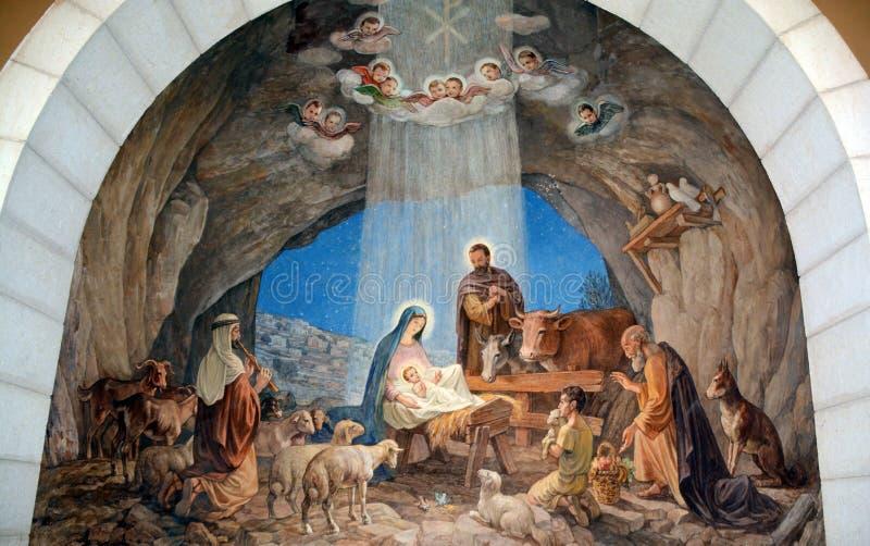 Fresk w bacy pola kaplicie obrazy stock