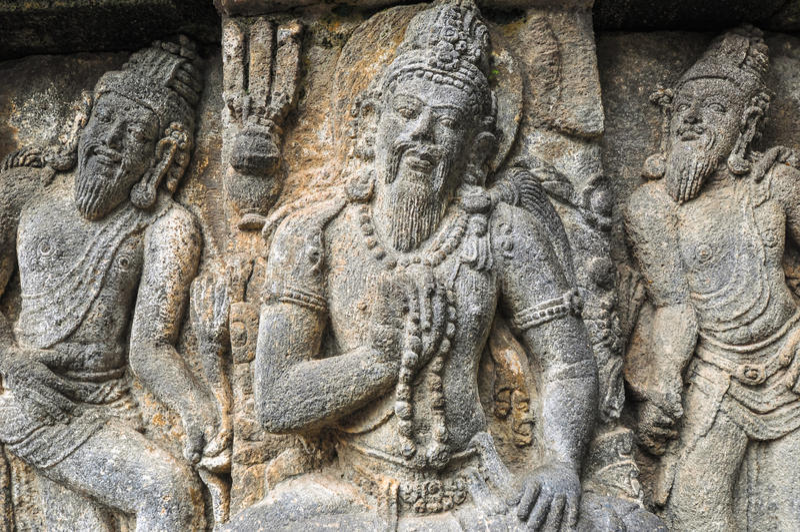 Freske Hindoese tempel Prombanan complex in Yogjakarta in Java stock fotografie