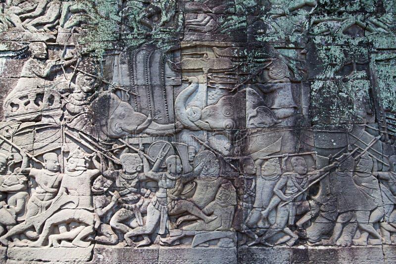 Fresko Angkor Wat/Angkor Thom De oude ruïnes van historisch stock fotografie