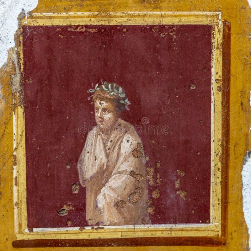 Fresko in antiek roman huis in Pompei, Italië stock foto's