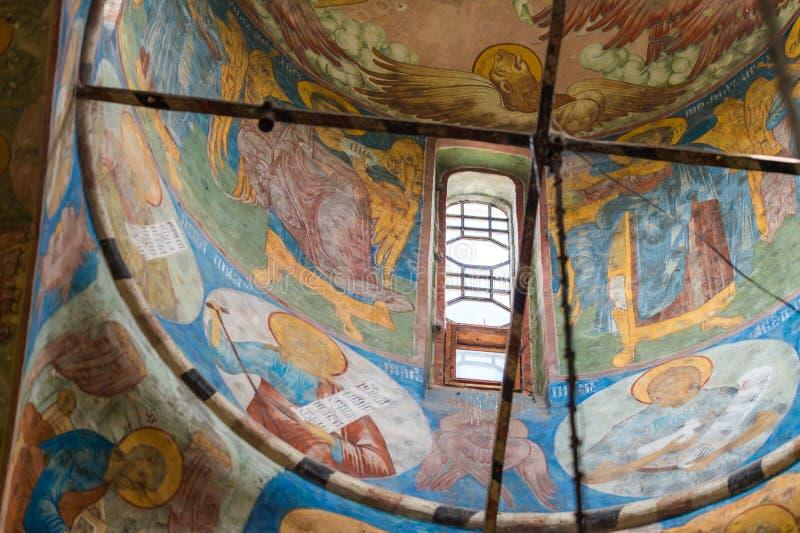 Fresko binnen de tempel stock afbeelding