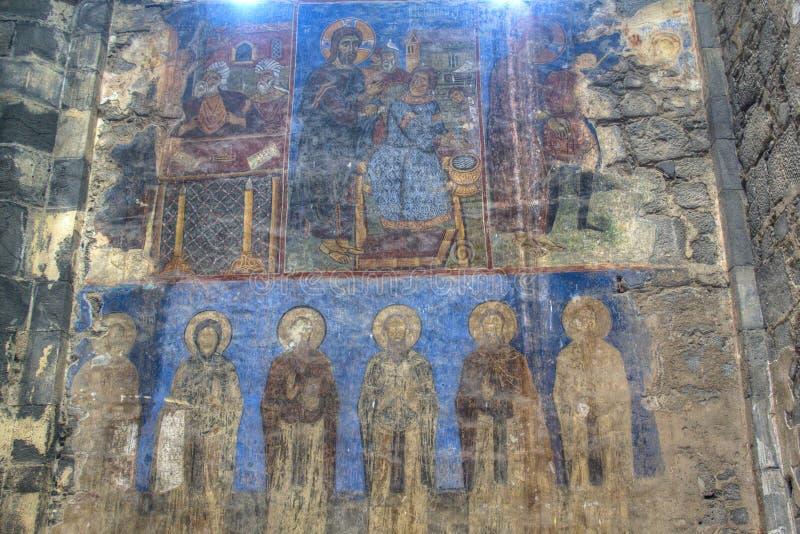 Fresko binnen het Akhtala-klooster stock afbeeldingen