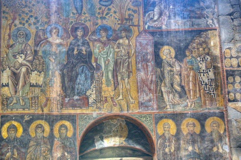 Fresko binnen het Akhtala-klooster stock foto