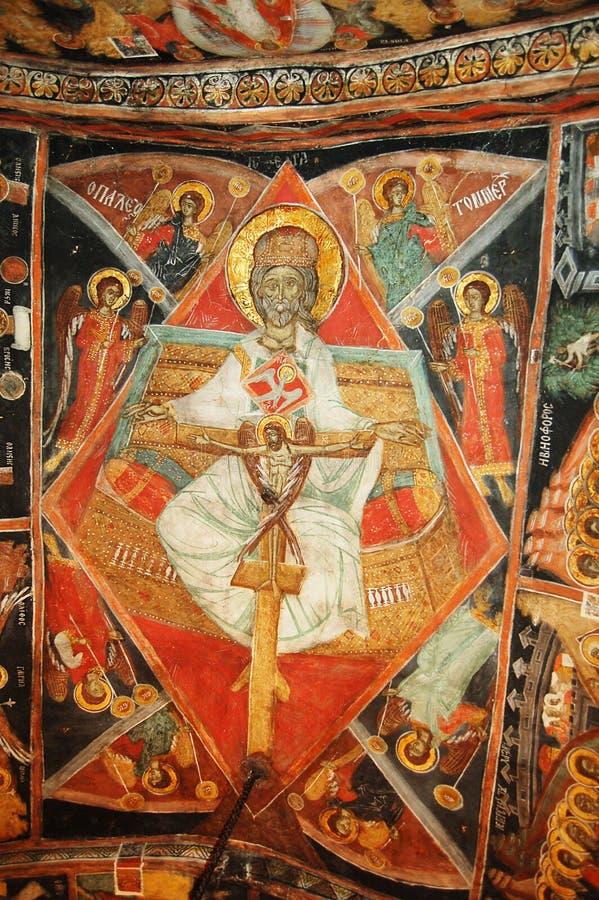 Fresko in Bulgaars klooster royalty-vrije stock fotografie