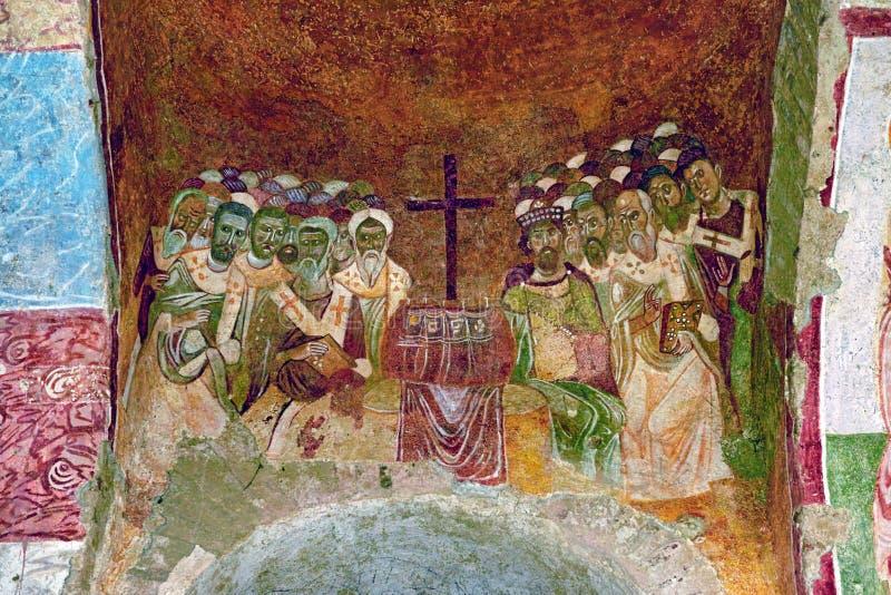 Fresko in de Kerk van Sinterklaas in Demre Turkije stock foto