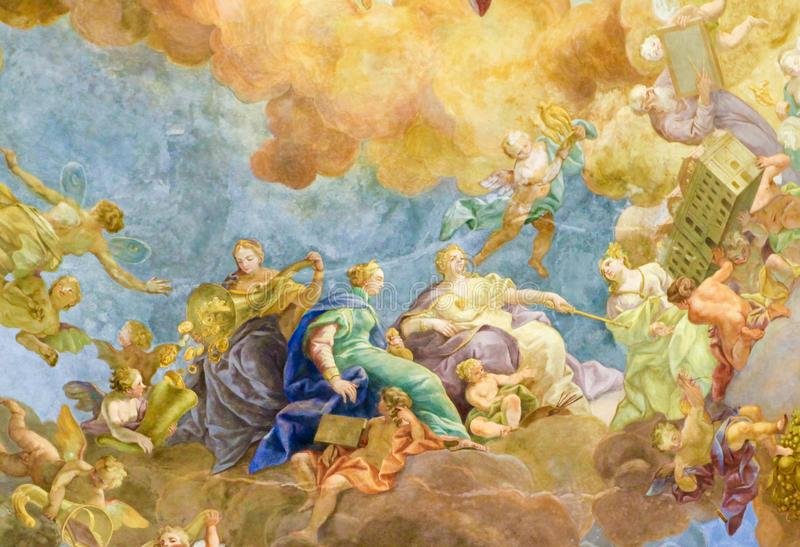 Fresko in de Oostenrijkse Nationale Bibliotheek in Wenen stock foto's
