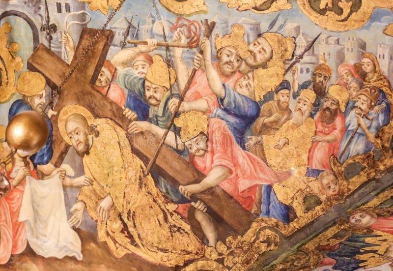 Fresko in der Kirche des heiligen Grabes, Jerusalem - Jesus auf Via Dolorosa stockbilder