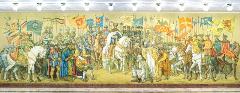 Fresko die de Grote Unie van de drie Roemeense prinsdommen vertegenwoordigen stock fotografie