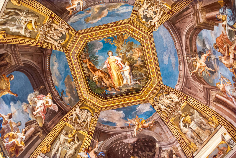Fresko in einer Halle in Vatikan Musuems stockfotografie