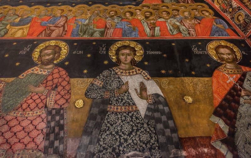 Fresko in het Bachkovo-klooster royalty-vrije stock afbeelding