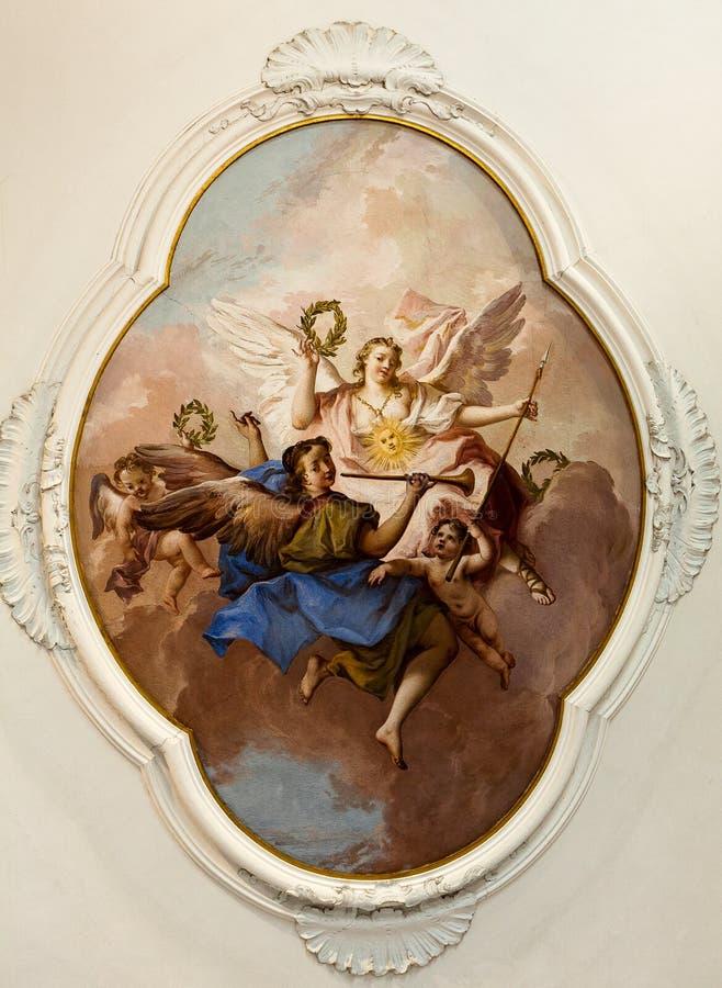 Fresko het schilderen de engelenvilla Pisani, Stra, Veneto, Italië van het tiepoloplafond royalty-vrije stock afbeeldingen