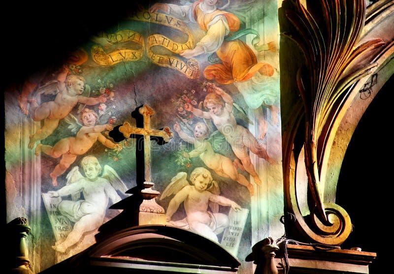 Fresko in kerk Santa Maria binnen stock afbeeldingen