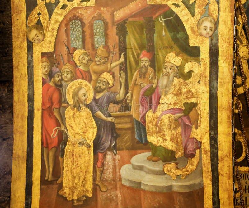 Fresko in Kerk van het Heilige Grafgewelf, de Proef van Jeruzalem - Sanhedrin-van Jesus stock fotografie