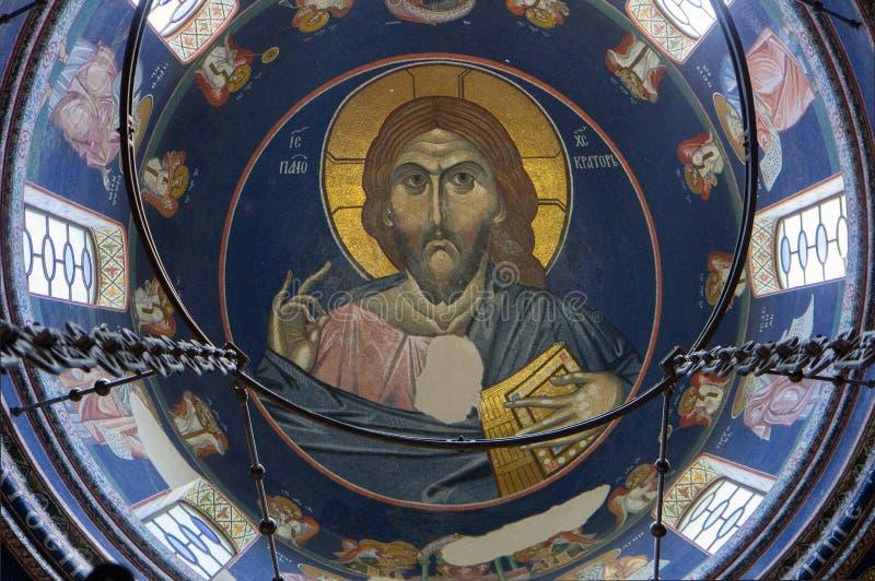 Fresko in klooster stock afbeelding
