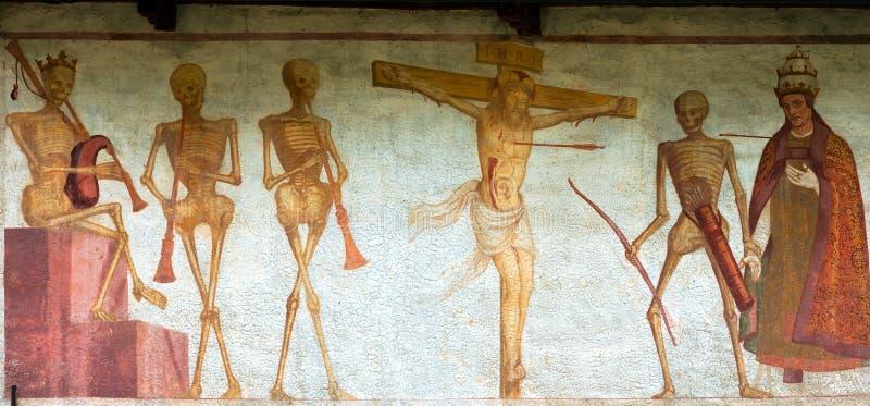 Fresko Macabere Dans - Pinzolo Trento Italië stock afbeeldingen