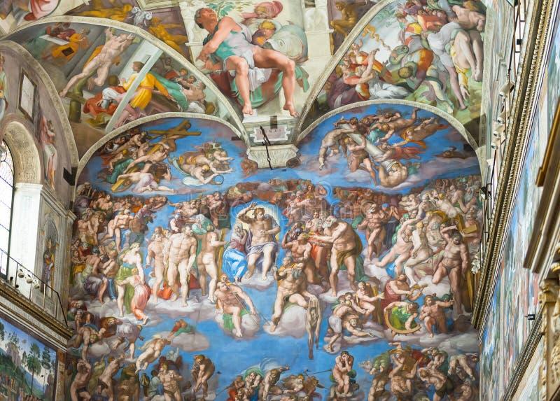 Fresko op de muur in de Musea van Vatikaan stock afbeeldingen