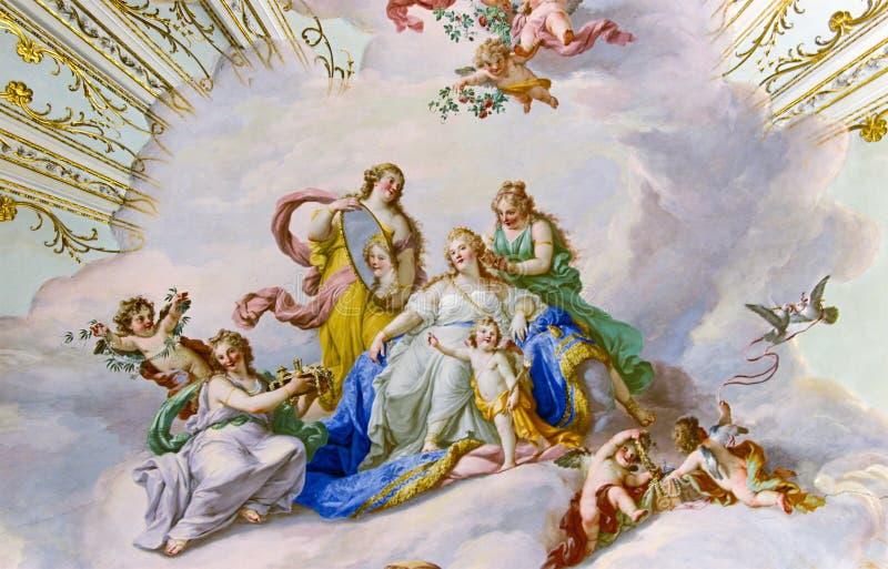 Fresko op het plafond van Paleis stock afbeelding