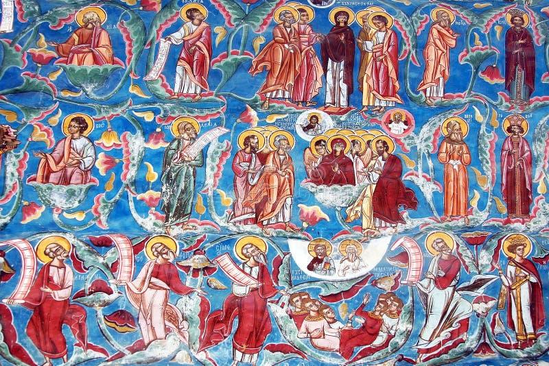 Fresko op Klooster Moldovita royalty-vrije stock foto
