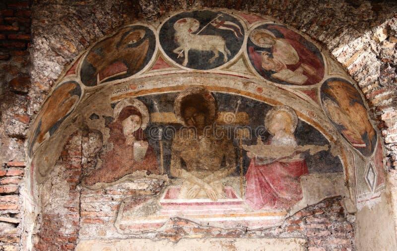 Fresko in oud huis dichtbij kerk Santa Maria in Aracoeli, Capitol Hill, Rome royalty-vrije stock foto's