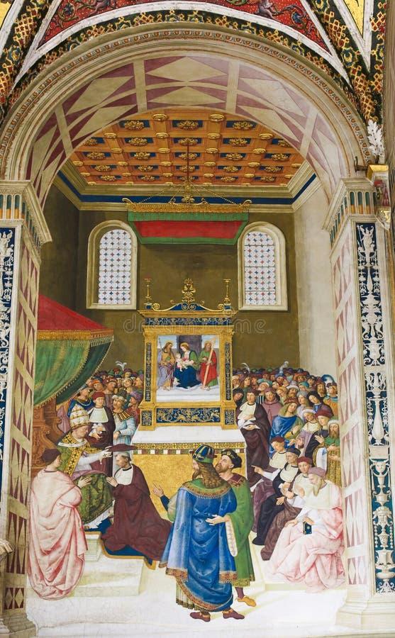 Fresko in Piccolomini-Bibliotheek, Siena stock afbeelding