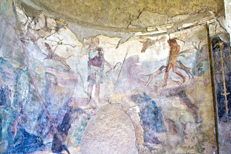 Fresko in Pompei royalty-vrije stock foto's