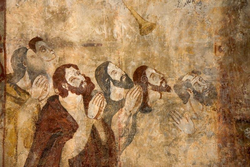 Fresko's in Alquezar, Spanje royalty-vrije stock afbeelding