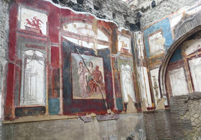 Fresko's in de archeologische plaats van Herculaneum royalty-vrije stock fotografie