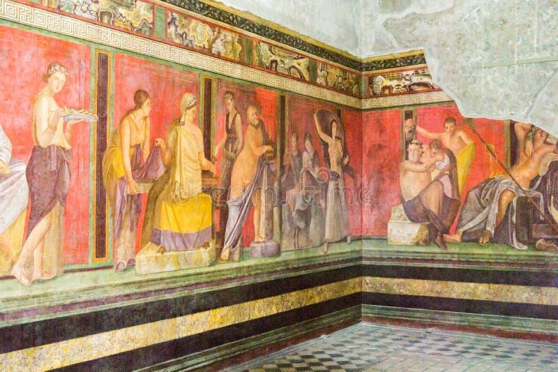 Fresko's in de Villa van de Geheimen, Pompei royalty-vrije stock foto's