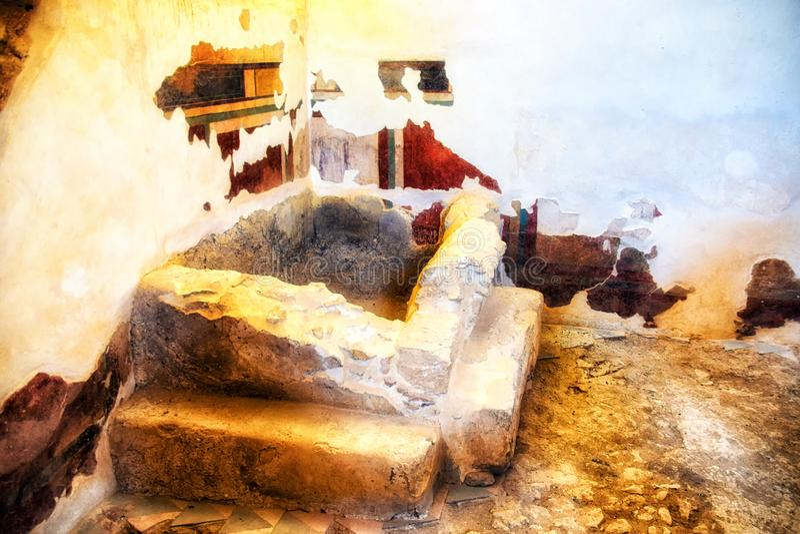 Fresko's en pleister op de muur in de Woonplaats van de Commandant door Koning Herod dat Groot wordt gebouwd royalty-vrije stock fotografie