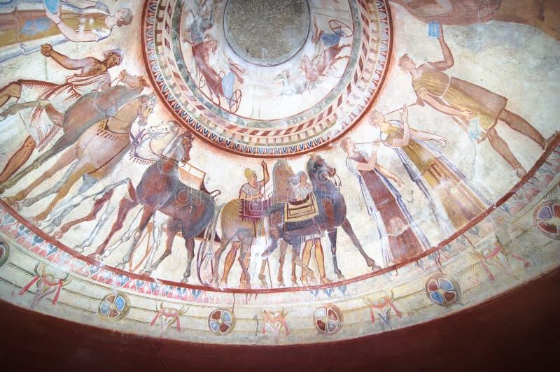Fresko's in Graf van Koning Thracian royalty-vrije stock fotografie