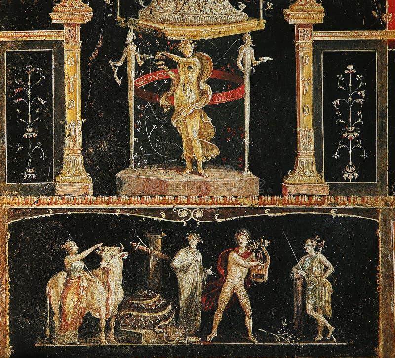 Fresko's in ruines van Pompei, Napels, Italië royalty-vrije stock foto