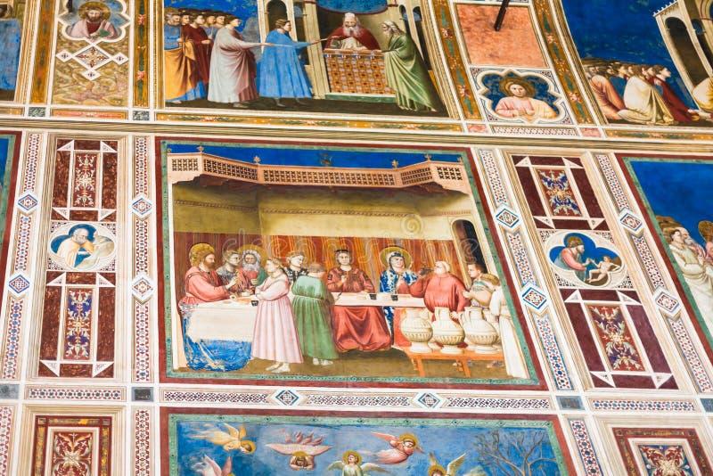 Fresko's in Scrovegni-Kapel in Padua stock afbeelding