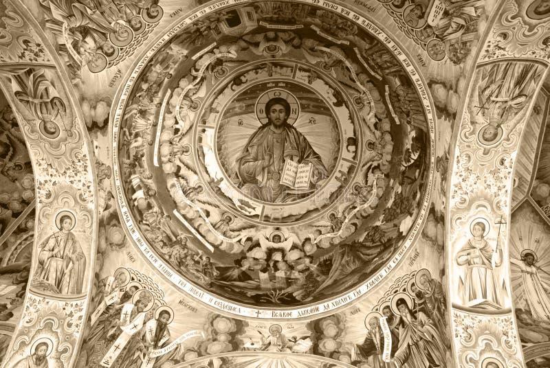 Fresko's van het Klooster van St John van Rila stock fotografie