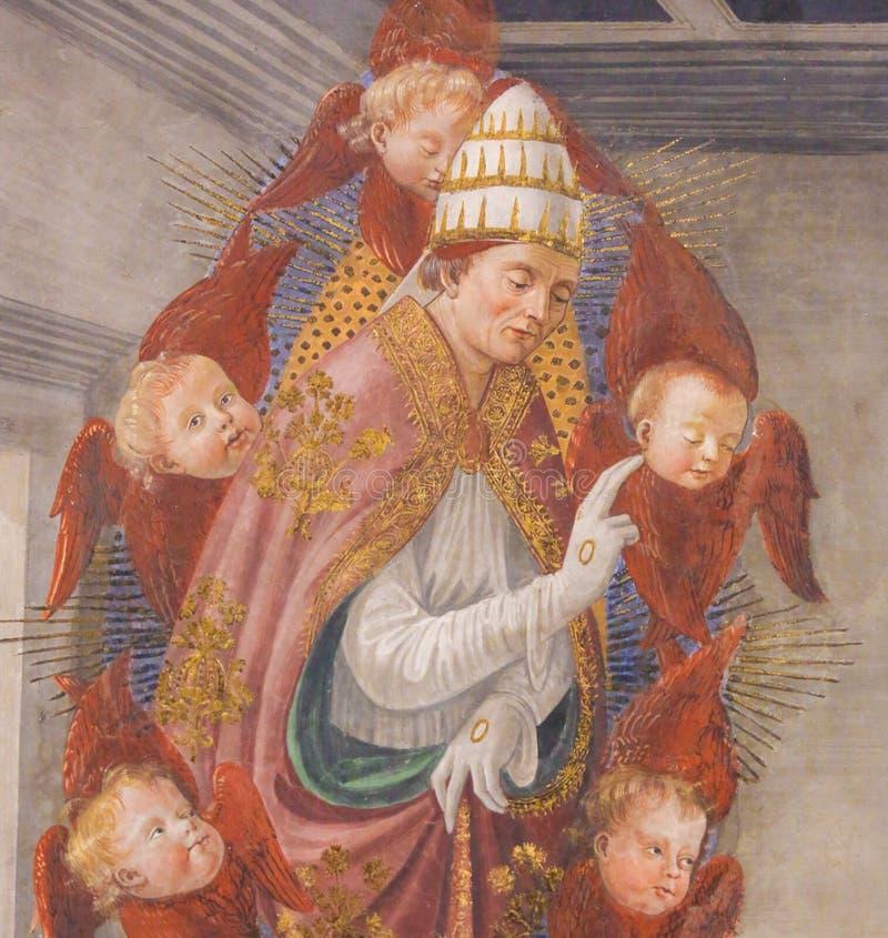 Fresko in San Gimignano - Heilige Gregory Groot royalty-vrije stock foto's