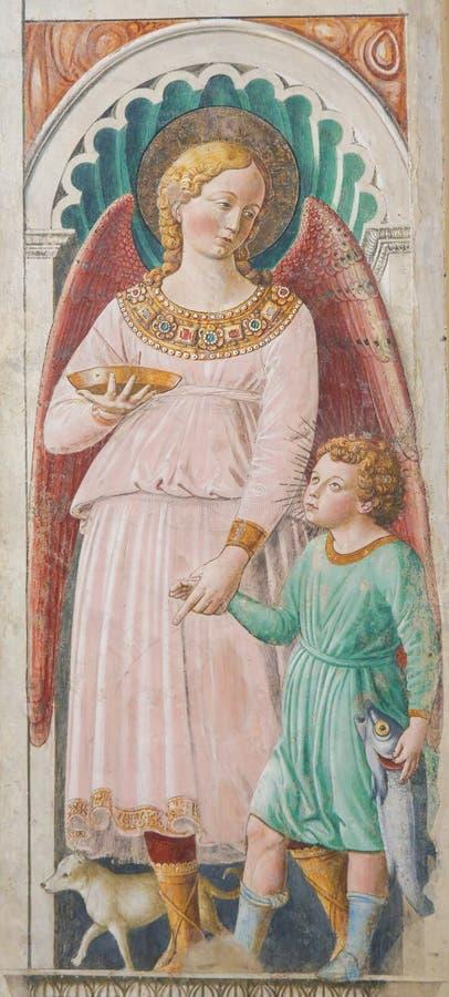 Fresko in San Gimignano, Italië - Raphael en Tobias royalty-vrije stock foto's