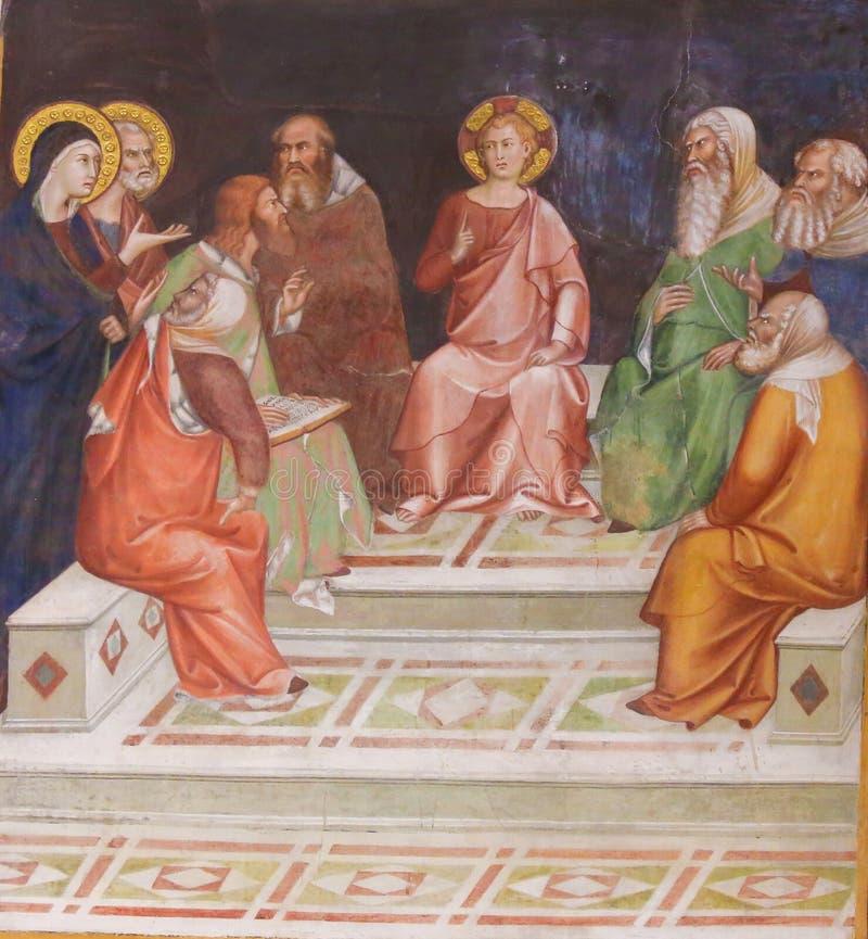 Fresko in San Gimignano - Jesus in de Tempel royalty-vrije stock afbeeldingen