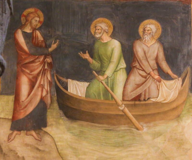 Fresko in San Gimignano - Jesus ruft Peter und Andrew an lizenzfreie stockfotografie