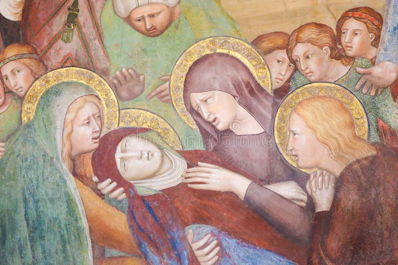 Fresko in San Gimignano - Tod der Mutter Mary stockfotos