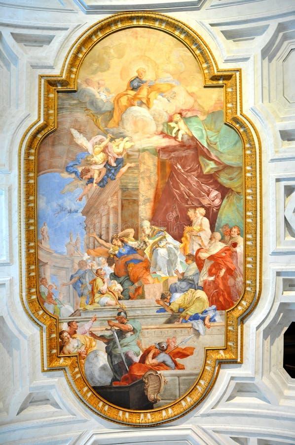 Fresko in San Pietro in Vincoli-Kirche Schöne alte Fenster in Rom (Italien) stockbild