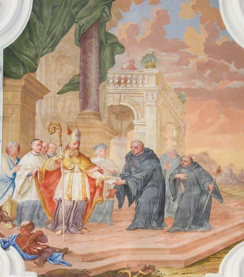 Fresko in St Mang Basiliek in Fussen, Beieren, Duitsland royalty-vrije stock afbeeldingen