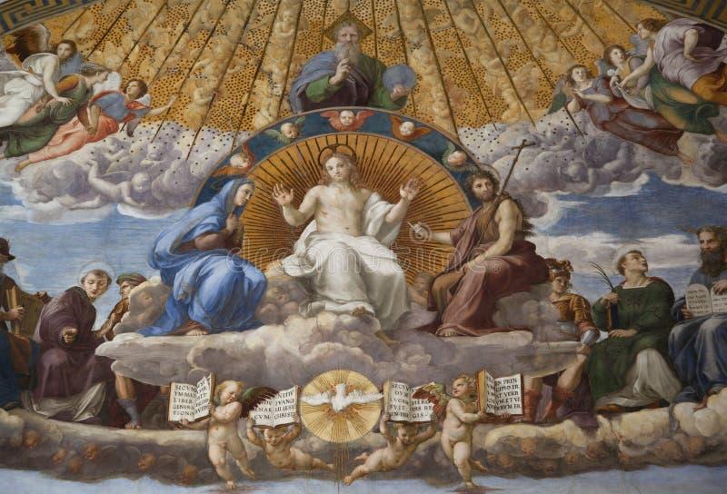 Fresko-Streitgespräch des heiligen Sakraments stockbild